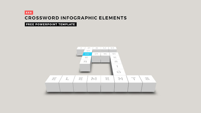 Crossword Puzzles Infographic Elements with 8x8 User's input for PowerPoint Templates