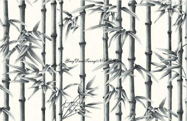 Giấy dán tường hình rừng trúc đen trắng