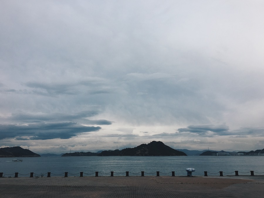 A view of the islands from Uno Port en route to Naoshima Island Japan