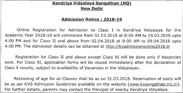 Kendriya Vidyalaya Sangathan Admission Notification 2018 KV Online Admission to Class I for 2018-19 Dates | KV Admission Guidelines and Procedure 2018 Kendriya Vidyalaya Online Admission Guidelines in Hindi | Kendriya Vidyalaya Admission 2018-19 – Public Notice | KV Online Admission to Class I for 2018-19 Dates | Kendriya Vidyalaya Online Admission 2018 Latest updates | Instructions for Online Registration for KV Admission for 2018-19 | KV Online Admission to Class I for 2018-19 Dates | Kendriya Vidyalaya Online Admission Form 2018 KVS Online Registration Last Date | Kendriya Vidyalaya Online Admission 2018-19 | Kendriya Vidyalaya Online Admission 2018 Latest updates | Kendriya-vidyalaya-sangathan-kvs-class1-admission-notification-apply-online-registration-guidelines-to-fill-application-form-related-updates-kvsangathan.nic.in/2018/03/Kendriya-vidyalaya-sangathan-kvs-class1-admission-notification-apply-online-registration-guidelines-to-fill-application-form-related-updates-kvsangathan.nic.in.html