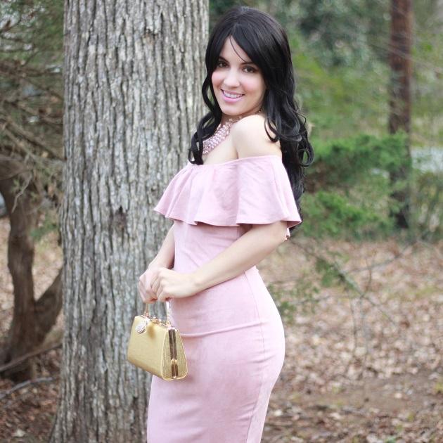 SheIn Pink Faux Suede Dress