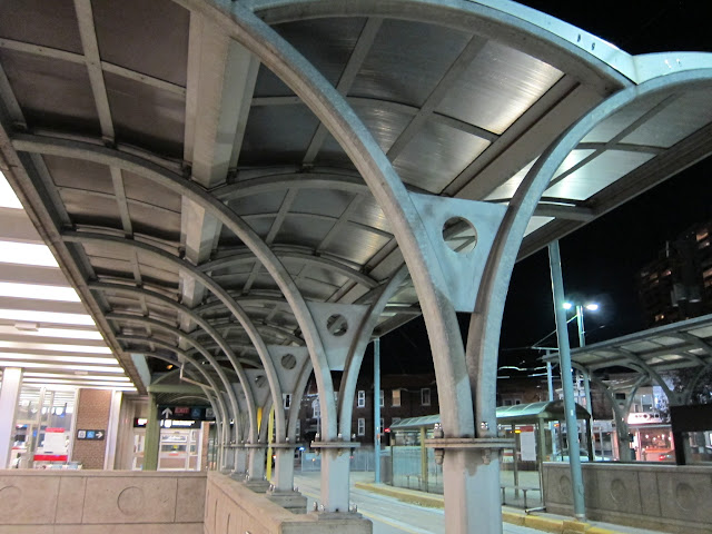 Streetcar platform canopies at Broadview station
