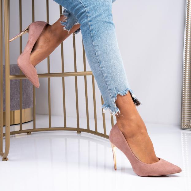 Pantofi moderni de zi si ocazii roz din piele intoarsa eco cu toc auriu