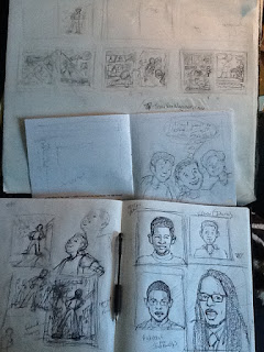 Character and scenes sketches for Nelson Beats the Odds, Imagine That Design