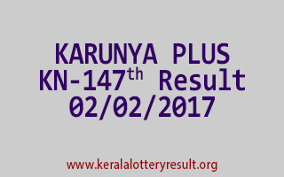 KARUNYA PLUS KN 147 Lottery Results 02-02-2017