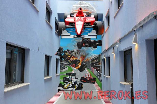 Graffiti 3d fórmula 1 para Bcn Sport Hostels