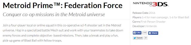Metroid Prime Federation Force Nintendo E3 2015 site description first person shooter FPS