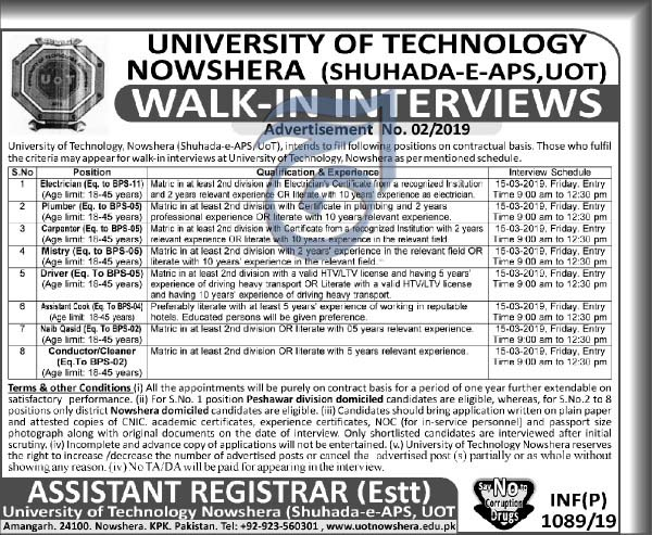 University of Technology Nowshera Jobs 11  March 2019