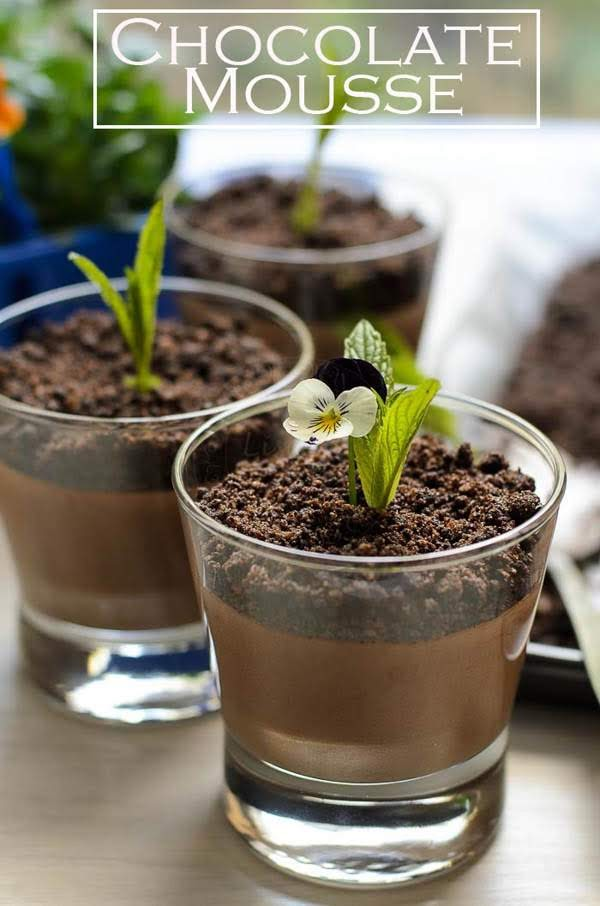 Chocolate Mousse with Chocolate Dirt recipe. Decadent dessert in a flash. Chocolate Mousse with Chocolate Dirt with smooth and texture in every spoonful.