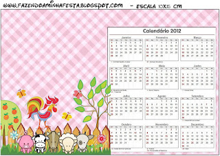 Calendario 2012 para imprimir gratis de La Granja Bebés en Rosa.