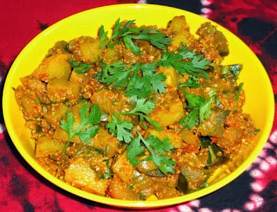 Batata vangyachi bhaaji in a plate