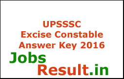 UPSSSC Excise Constable Answer Key 2016