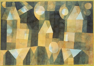 Paul Klee painting - Three Houses and a Bridge