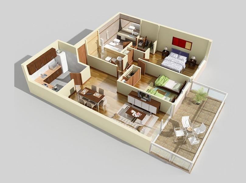 3D Floor Plan  Minimalist 9