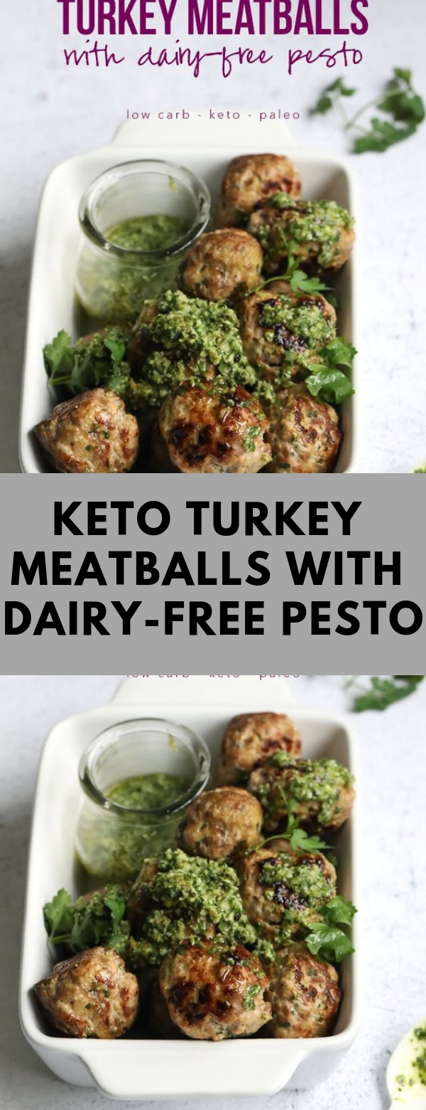 Keto Turkey Meatballs with Dairy-Free Pesto #KETO #LOWCARB #DIET #DAIRYFREE #GLUTENFREE LUNCH #TURKEY #PALEO