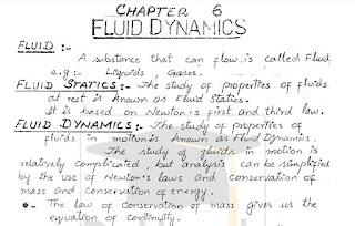 1st Year Physics Fluid Dynamics Notes pdf