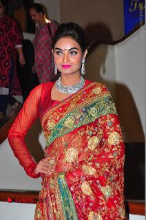 Model Sharon Fernandes Stills in Red Saree at Trendz Exhibition Launch  0042.JPG