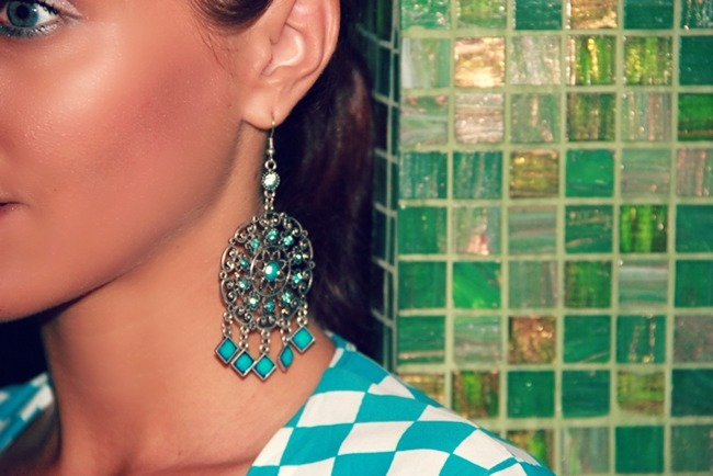 statement earrings with turquoise squares