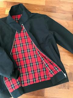 Black Harrington Jacket with Tartan Lining
