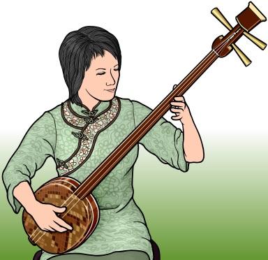 三弦(Sanxian サンシェン さんげん)を演奏している女性