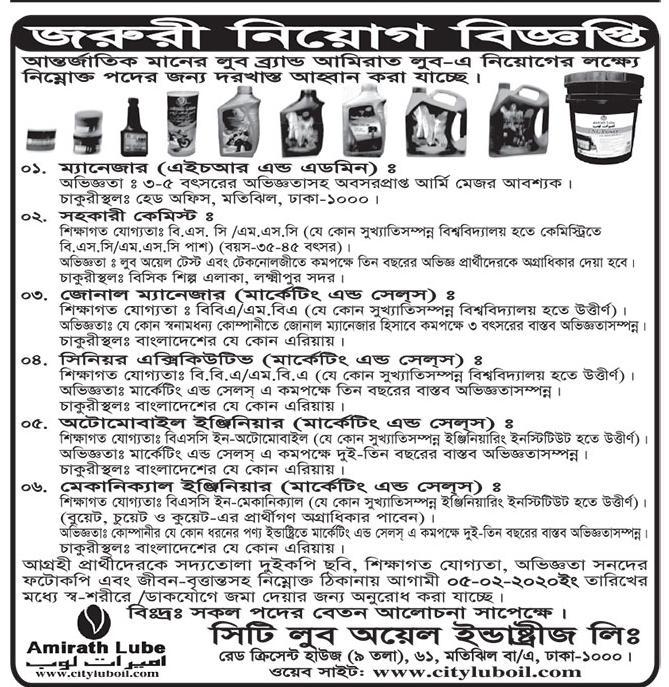 জরুরী নিয়োগ বিজ্ঞপ্তি ২০২০ - job news 2020