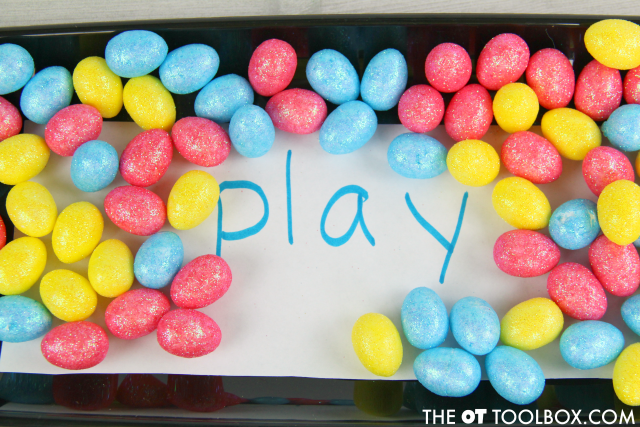 Help tactile learners with sight words using a sight word sensory tray