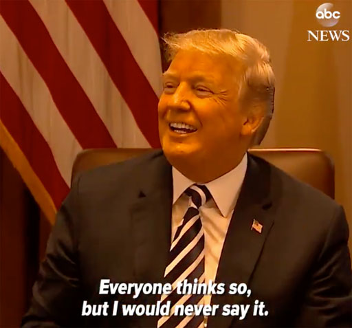 """Donald Trump told reporters at the White House today that """"Everyone thinks"""" he deserves the Nobel Peace Prize for his efforts to bring peace to North and South Korea"""