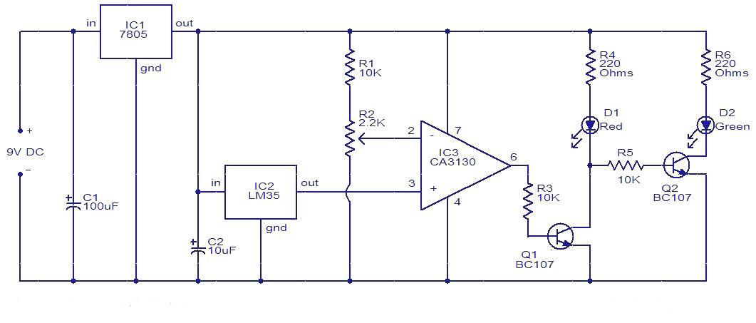 Temperature Controller Circuit Using Ic Lm35