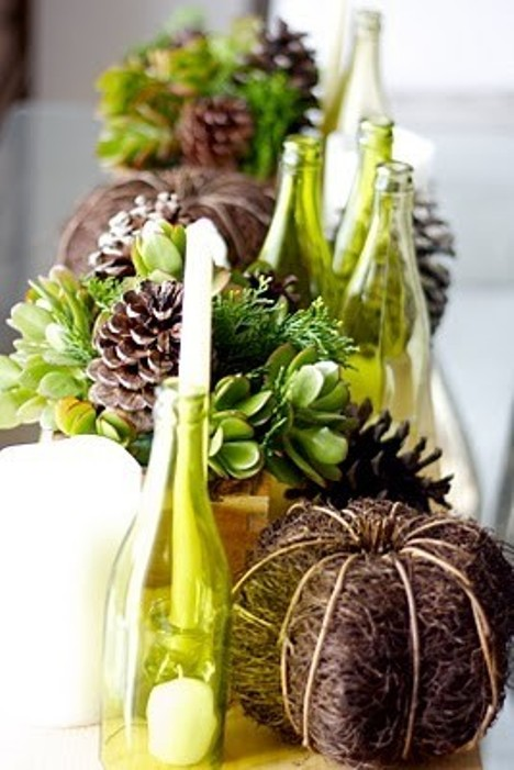 Autumn Dinner Party Ideas Part - 47: Apple Green And Brown Decor