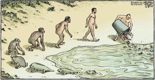 Lixo na natureza. A evolução espiritual somente é verdadeira se refletir nas práticas cotidianas das pessoas.