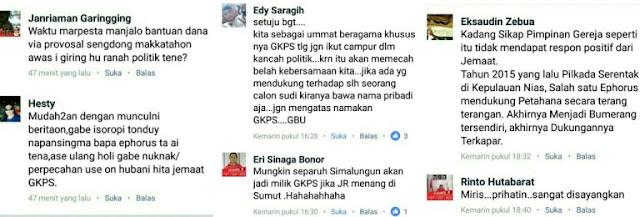 Inilah Reaksi Negatif Warganet Saat GKPS Mendukung JR SARAGIH di Pilgub SUMUT