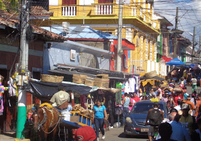 A busy street in Granada, Nicaragua Central America