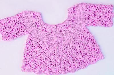 4 - IMAGEN Chaqueta a crochet a juego con vestido rosa para niña muy fácil y rápida Majovel Crochet