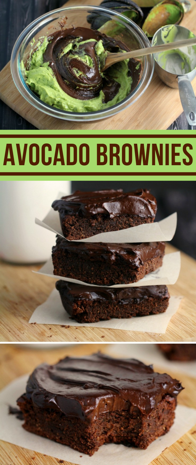 FUDGY AVOCADO BROWNIES WITH AVOCADO FROSTING #healthydessert #vegetarian