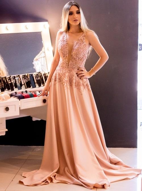 vestido de festa longo rose