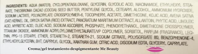Ingredientes crema/gel tratamiento despigmentante Mc Beauty