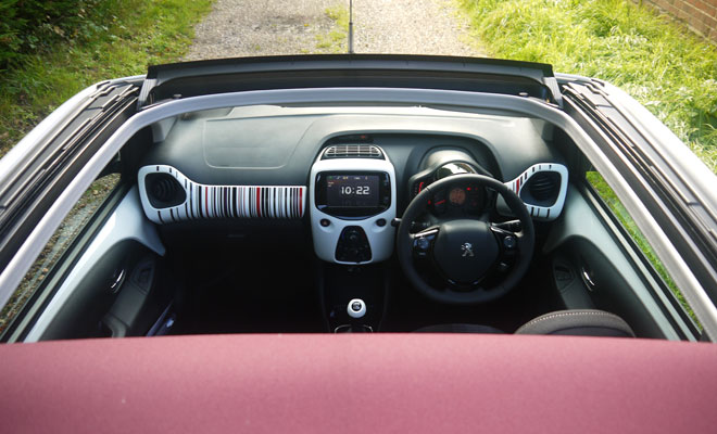Peugeot 108 from above, roof open