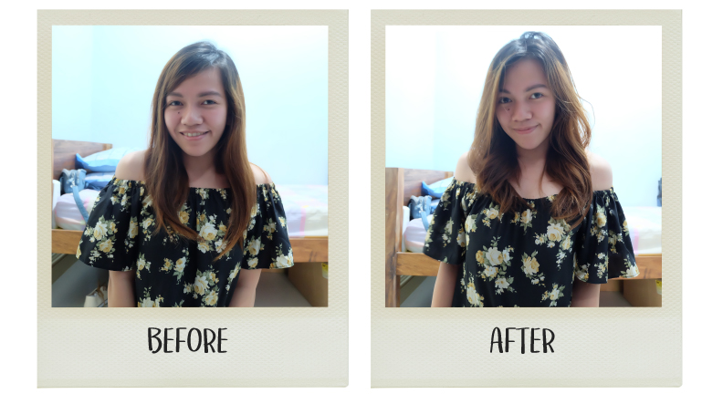 Before & After using Beach Born Sea Salt Spray