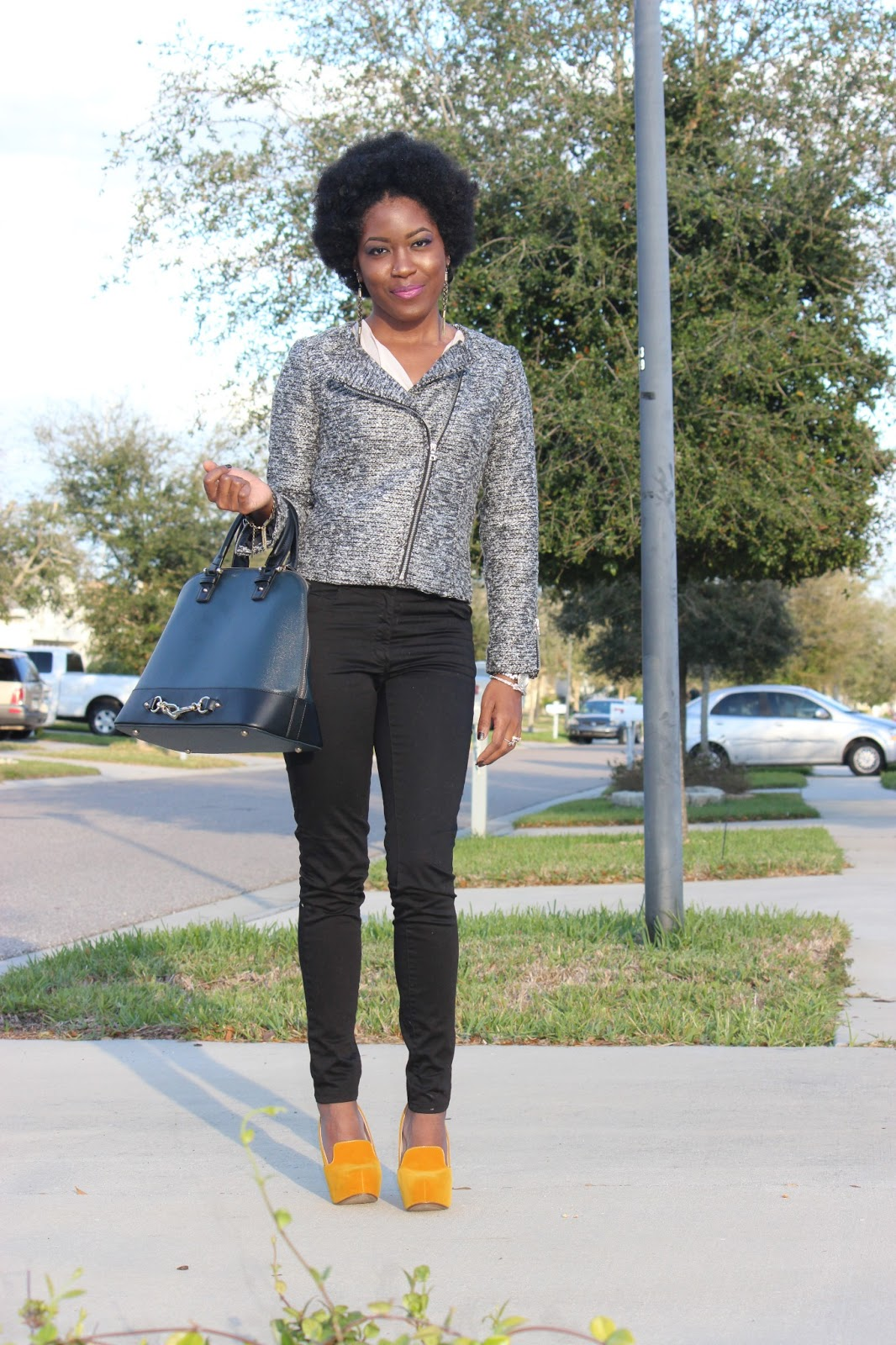 Last Winter Ootd H And M Tweed Moto Jacket And Statement