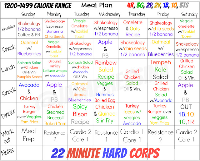 22 minute hard corps meal plan,
