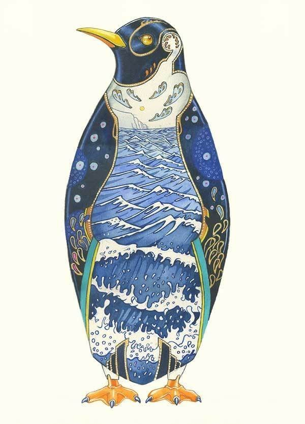 10-Penguin-Daniel-Mackie-Flora-and-Fauna-Watercolour-illustrations-www-designstack-co