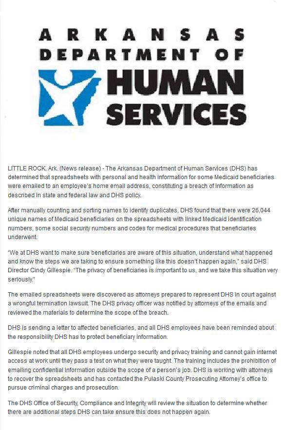 Bad Arkansas Department of Human Services: DHS, SLOPPY WITH