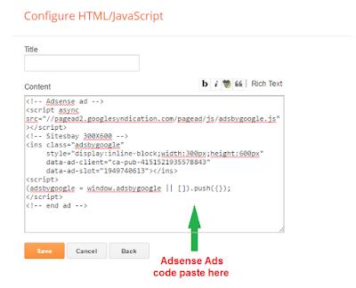 Cara pasang kode adsense di blogspot