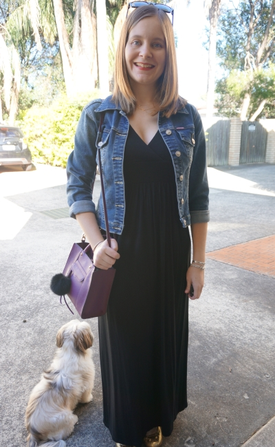 AwayFromBlue | Autumn outfit black halterneck maxi dress denim jacket purple RM bag