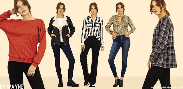 Moda otoño invierno 2019 mujer argentina. Moda en ropa de mujer, básicos urbanos remeras, blusas, pantalones, y sacos otoño invierno 2019.