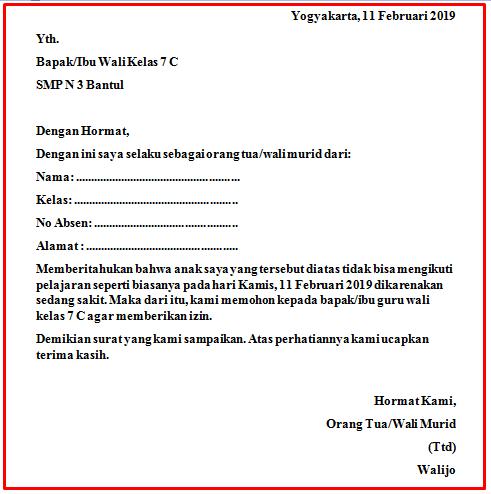 Download Kumpulan Contoh Surat Izin Sakit Sekolah Keren