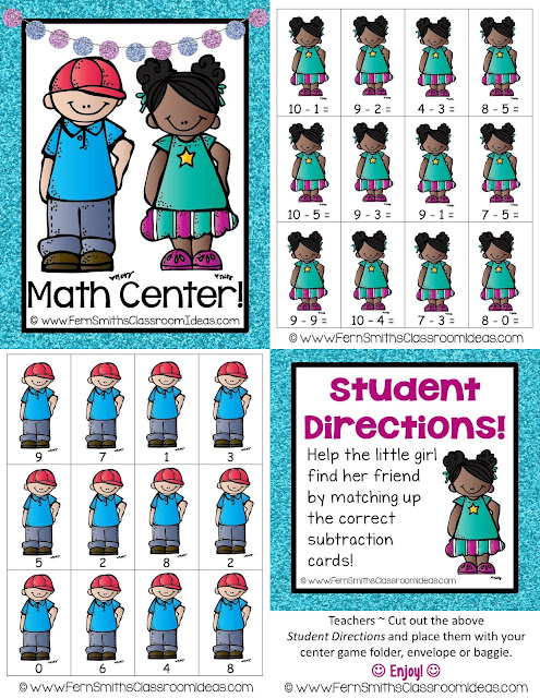 Fern Smith's Classroom Ideas Quick and Easy to Prep Mixed Subtraction Basic Facts Center with a Cute Back to School Student Theme at TeachersPayTeachers.