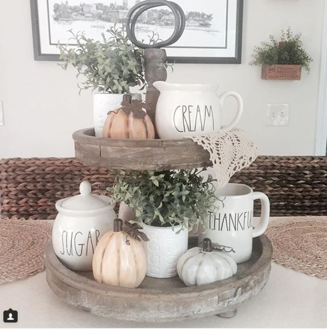 How to decorate a rustic tiered tray for fall with Rae Dunn pottery and pumpkins