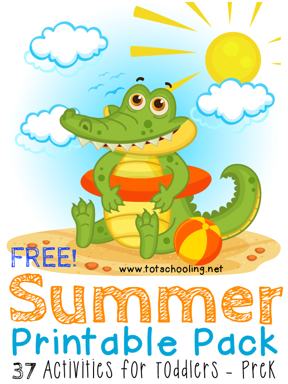 Free Summer themed Printable Pack featuring 37 activities for toddlers & preschoolers. Math, literacy, prewriting, scissor skills, visual discrimination, puzzles and more!