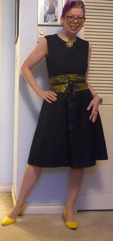 Black dress black tights black shoes